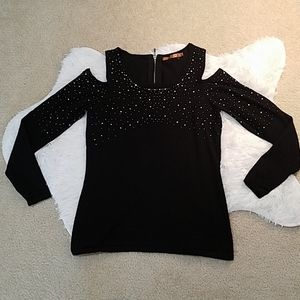 Sexy cold shoulder Glimmering shirt